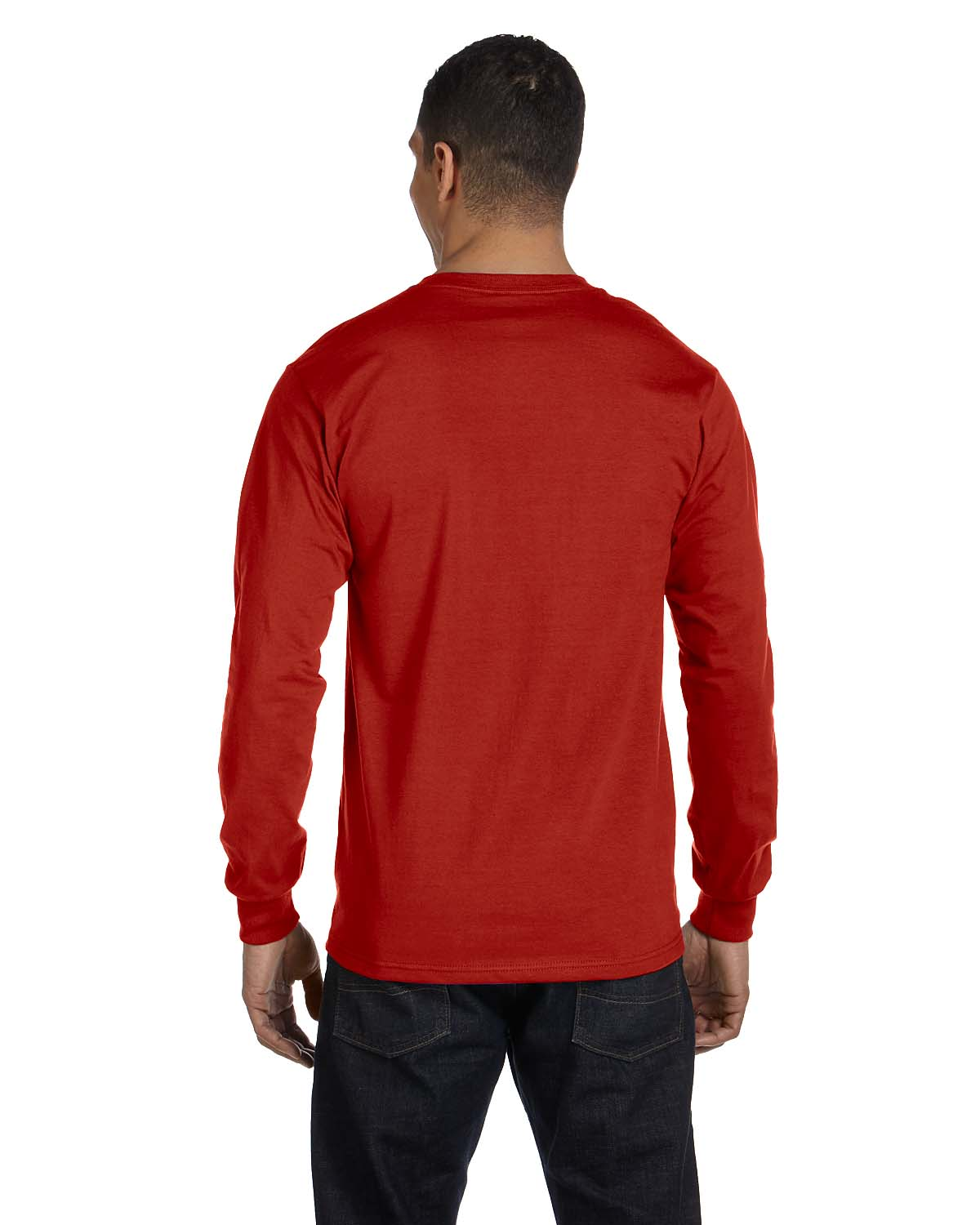 New hanes 6 1 oz 100 cotton long sleeve beefy t s xl t for Mens 100 cotton long sleeve t shirts