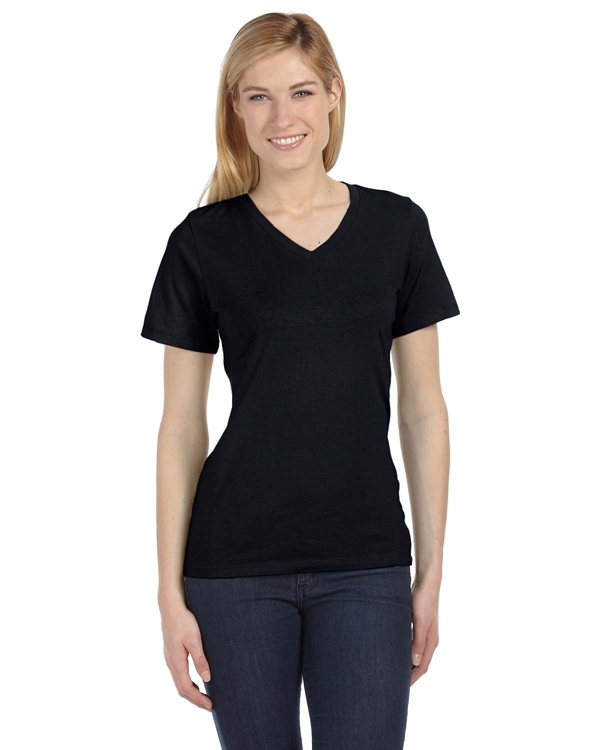 Bella women 39 s missy fit relaxed jersey short sleeve v neck for Womens v neck t shirts