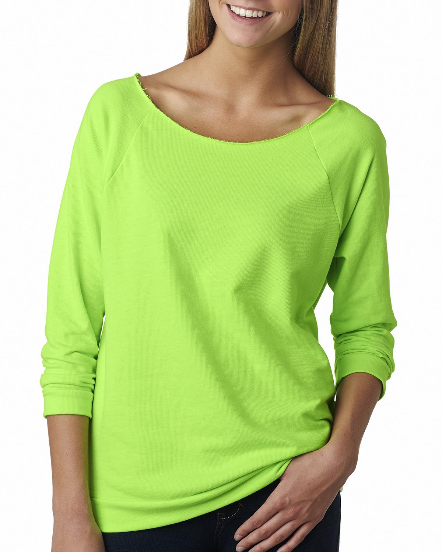 new next level womens premium terry raw edge 3 4 sleeve ForRaw Edge T Shirt Women S