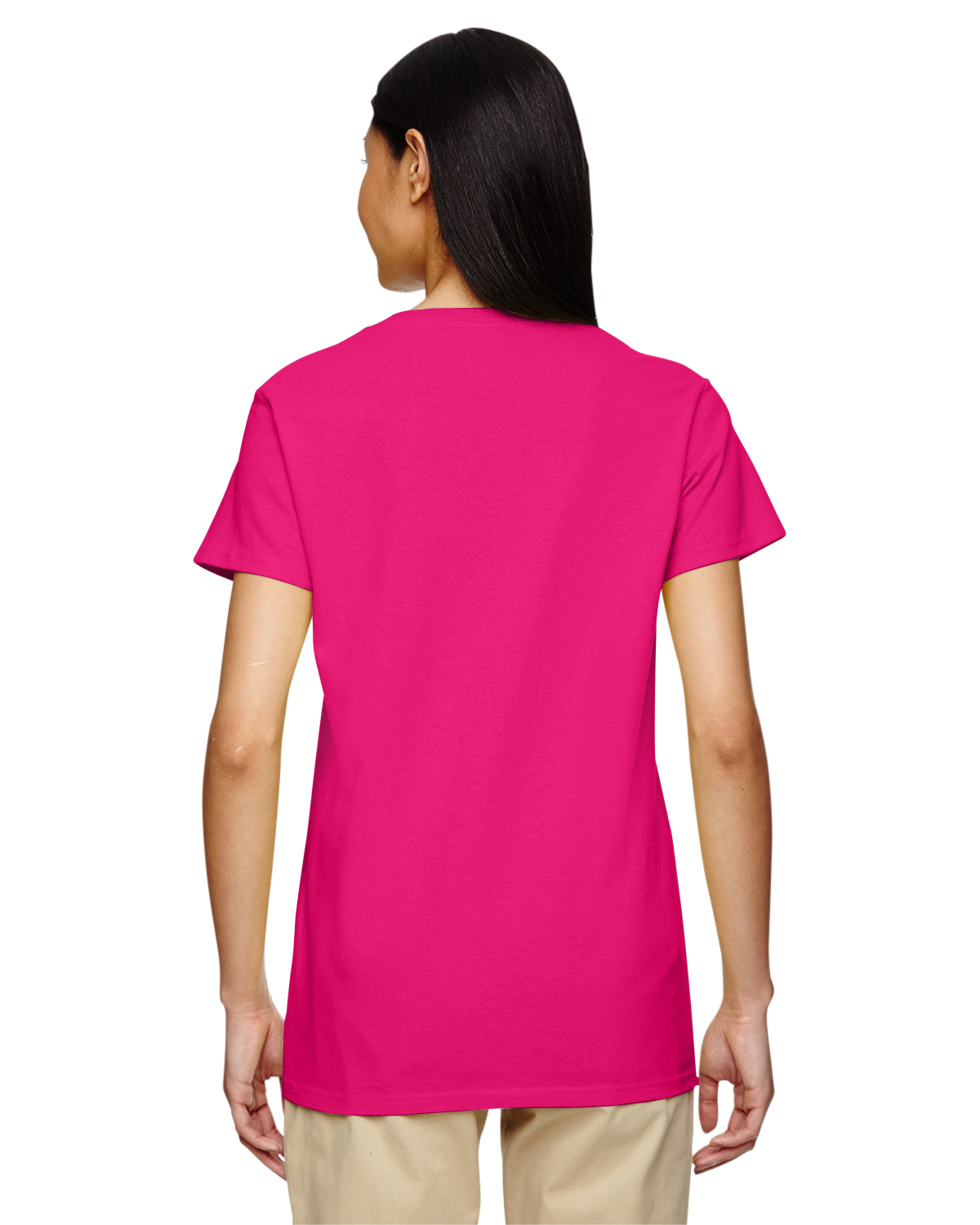 New gildan women 39 s heavy cotton short sleeves ladies v for Gildan brand t shirt size chart