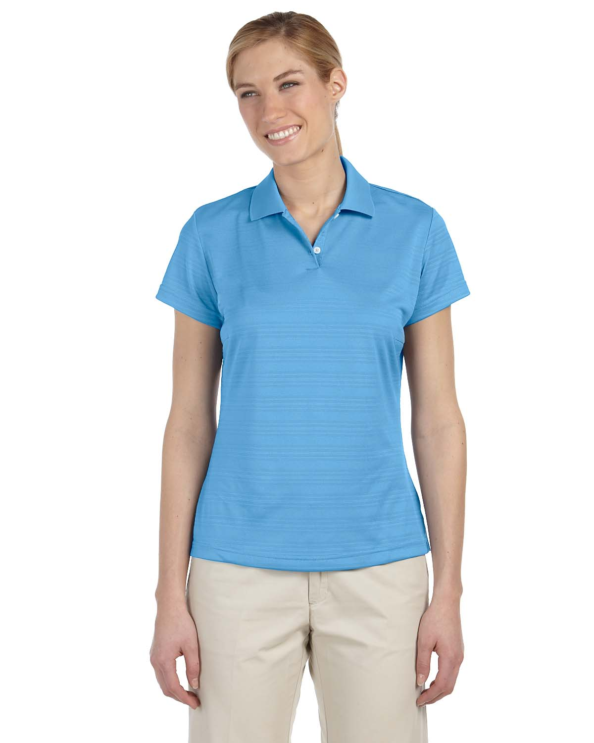 Adidas golf ladies 39 climalite textured short sleeve polo s for Golf polo shirts for women