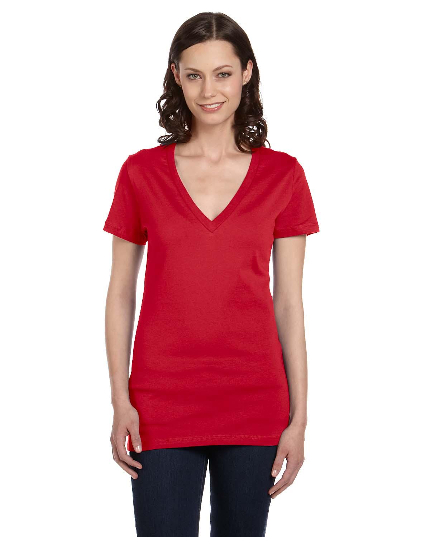 Bella canvas ladies womens deep v neck short sleeve s xl t for Short sleeve shirt for women