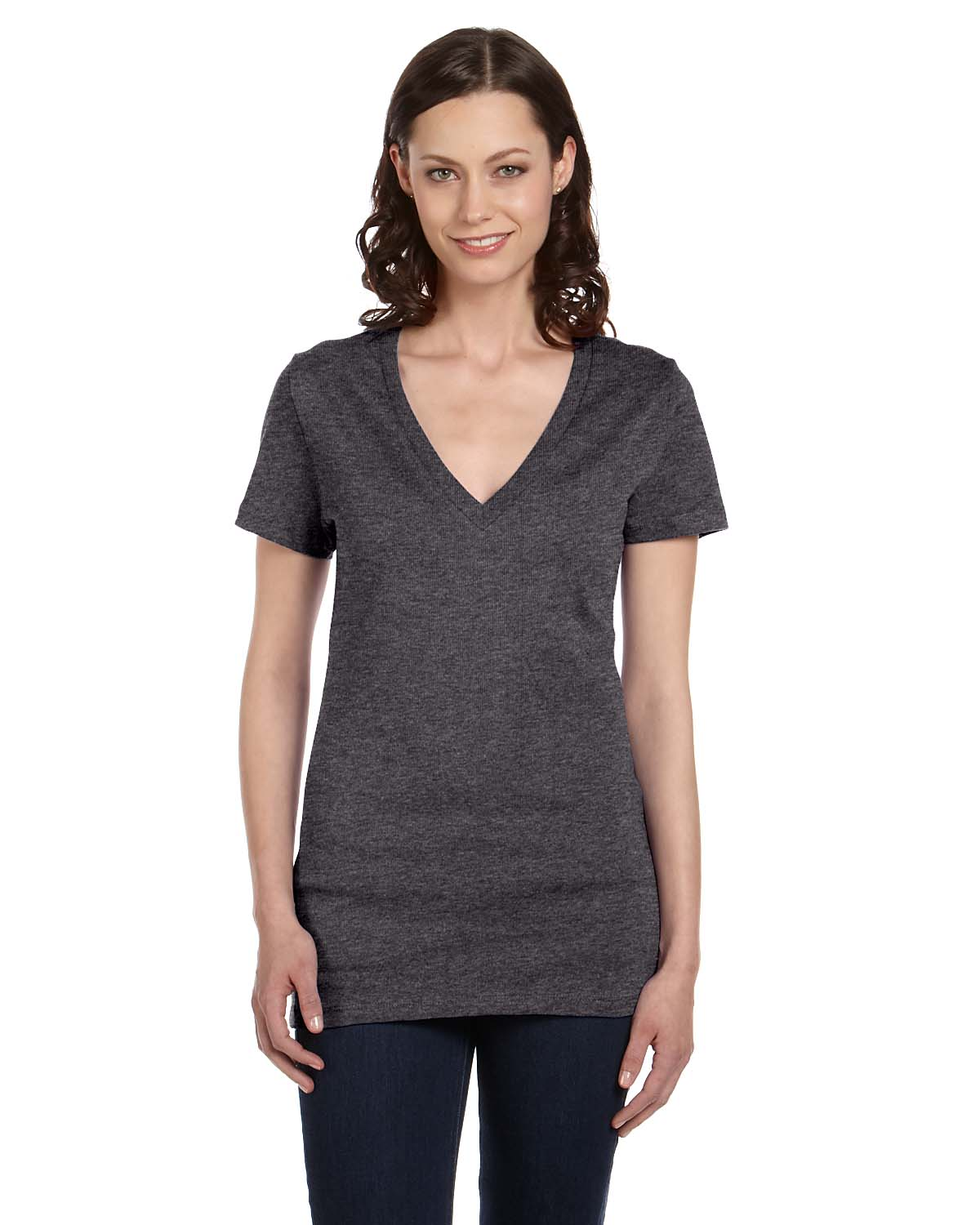 Without a doubt, v-necks are the most stylish t-shirt options. The elegant cut of a v-neck t-shirt flatters just about every form and adds a touch of femininity to the wardrobe staple.
