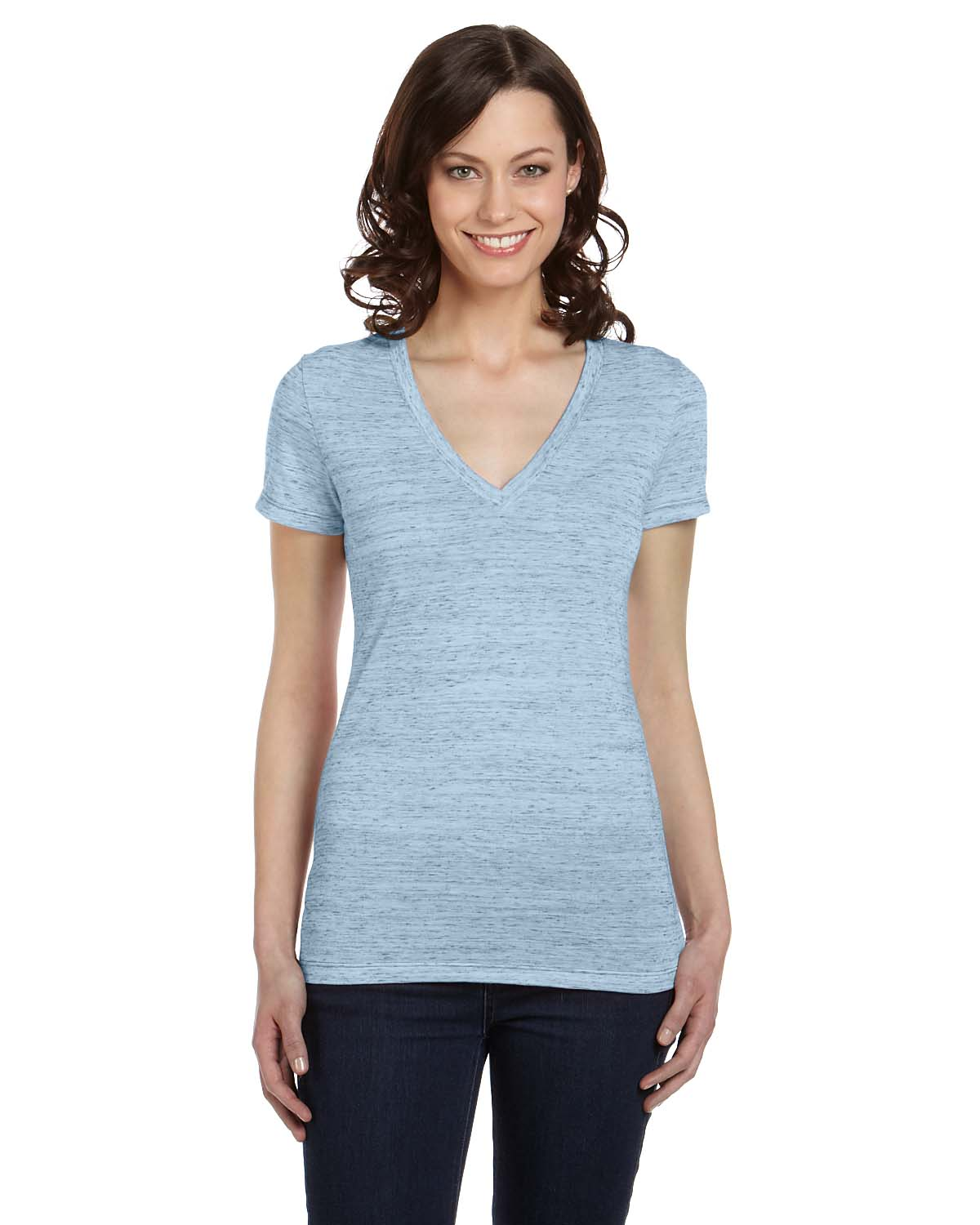 Bella canvas ladies womens deep v neck short sleeve s xl t for Short t shirts ladies