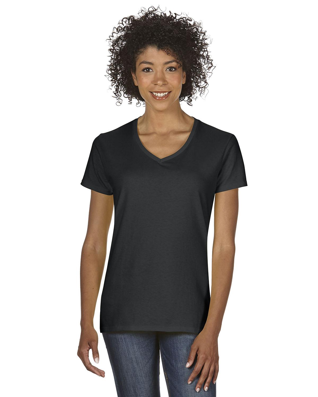 New gildan women 39 s heavy cotton short sleeves ladies v for V neck black t shirt women s