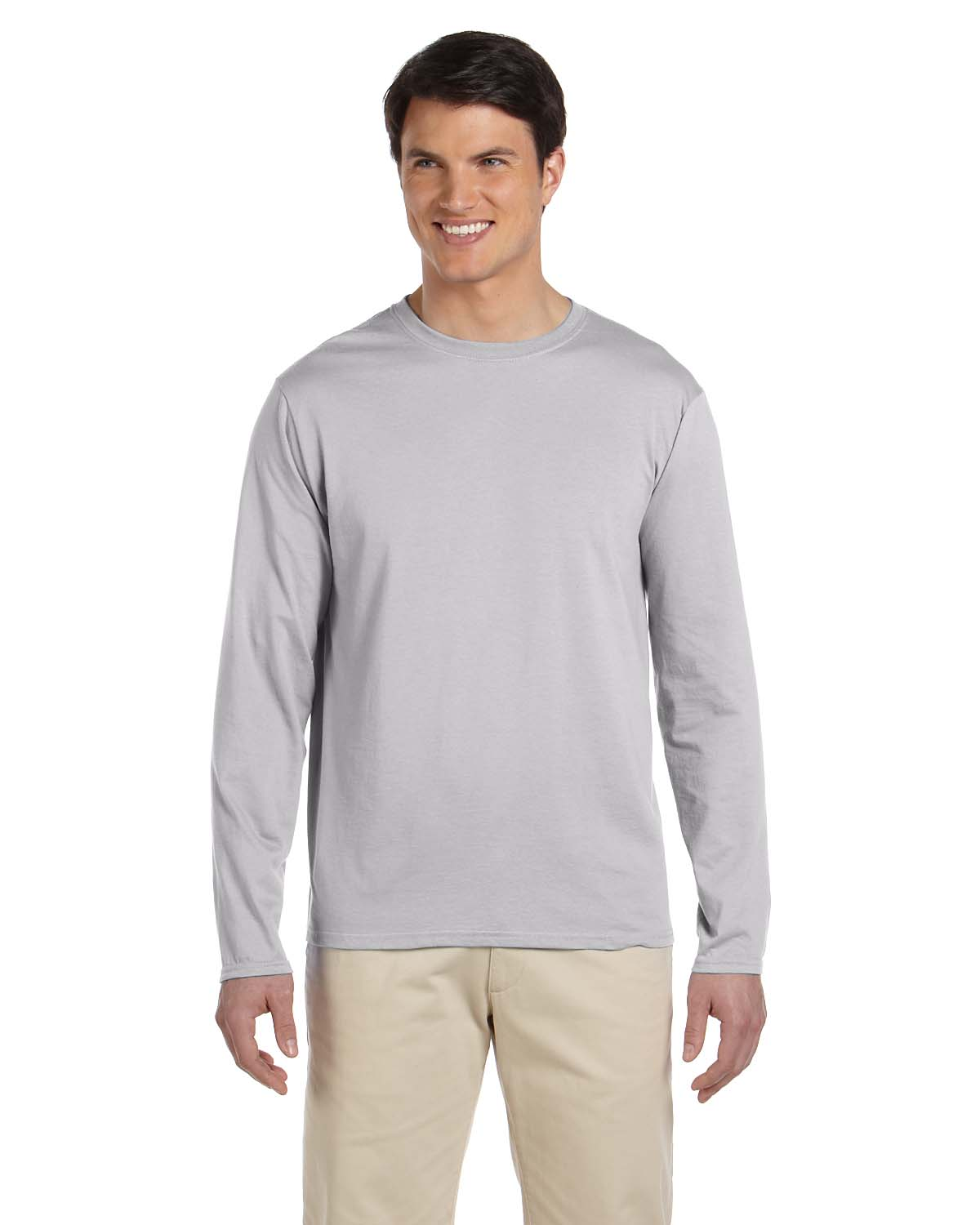 Gildan men 39 s 100 cotton taped neck crewneck long sleeve t for Mens 100 cotton long sleeve t shirts
