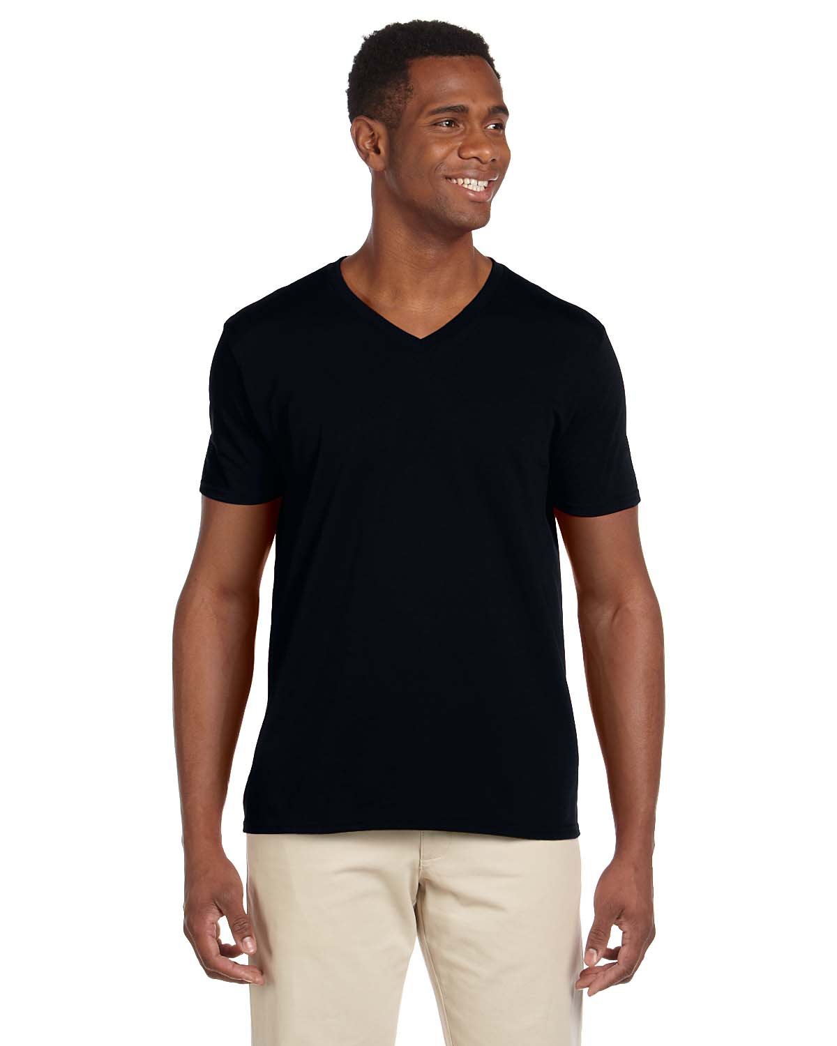 New gildan men 39 s 4 5 oz softstyle v neck t shirt short for Gildan v neck t shirts for men