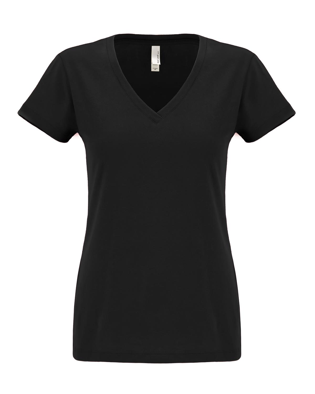 New next level women 39 s super soft v neck sueded short for V neck black t shirt women s